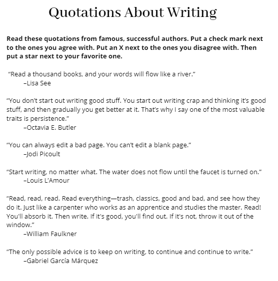 Quotations about Writing - 2